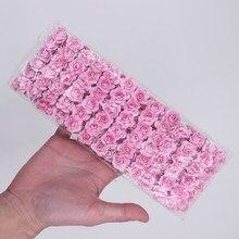 144pcs 1.5cm Mini Artificial Paper Rose Bouquet DIY Wreath Scrapbook Wedding Ornament Flower