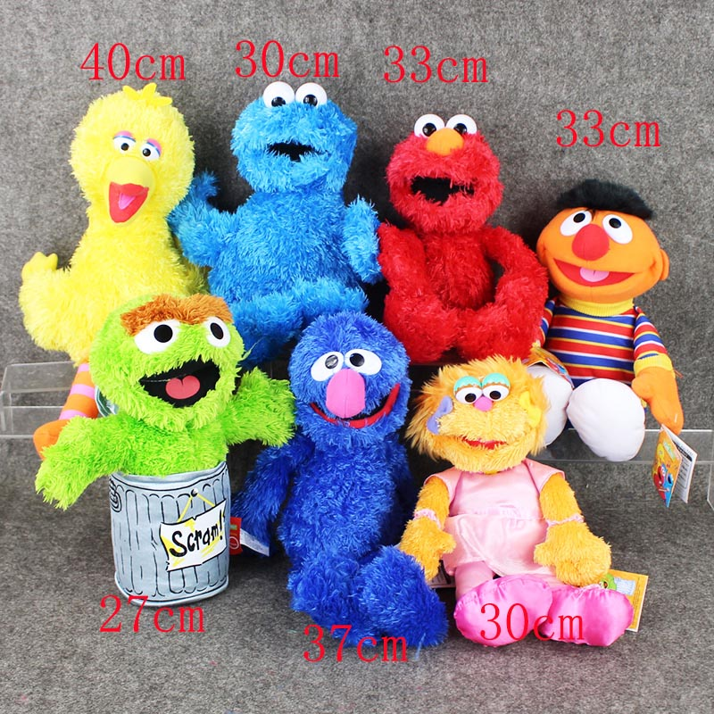 лучшая цена New arrival 7Style Sesame Street Elmo Cookie Grover Zoe& Ernie Big Bird Stuffed Plush Toy Doll Gift Children