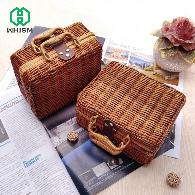 WHISM Handmade Bamboo Picnic Basket Mini Travel Suitcase Rattan Fruit Basket  Food Cosmetic Box For Outdoor
