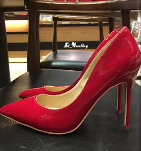 2018 spring and fall new pointed toe thin high heel pumps Sexy painted leather shallow shoes big size wedding shoes shoes woman pumps thin high heel 12cm shallow slip on wedding shoes patent leather pointed toe printing fashion sexy size 11 fsj