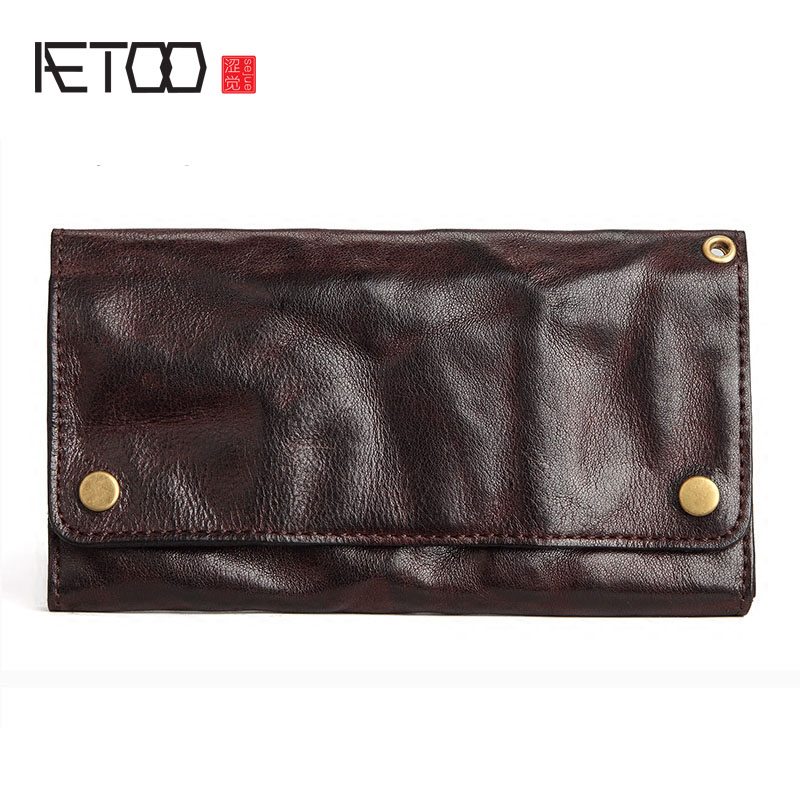 AETOO Retro wallet men long section of young tide ultra-thin soft Doka bit leather Japan and South Korea personality full leathe lan men s wallet ultra thin cow leather long wallet designed simple wallet