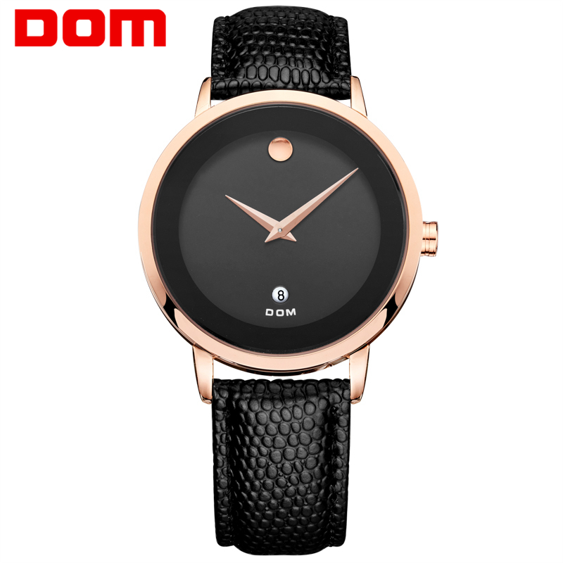 DOM 2016 Men Watches Authentic Quartz Girl Watch Fashion Couple Watch Personality Waterproof Leather Belt Casual
