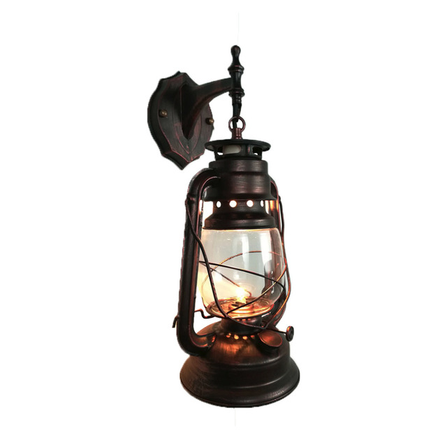 Rustic lantern wall mounted light industrial vintage style wall rustic lantern wall mounted light industrial vintage style wall sconce glass shade lighting fixture for bedroom mozeypictures Choice Image
