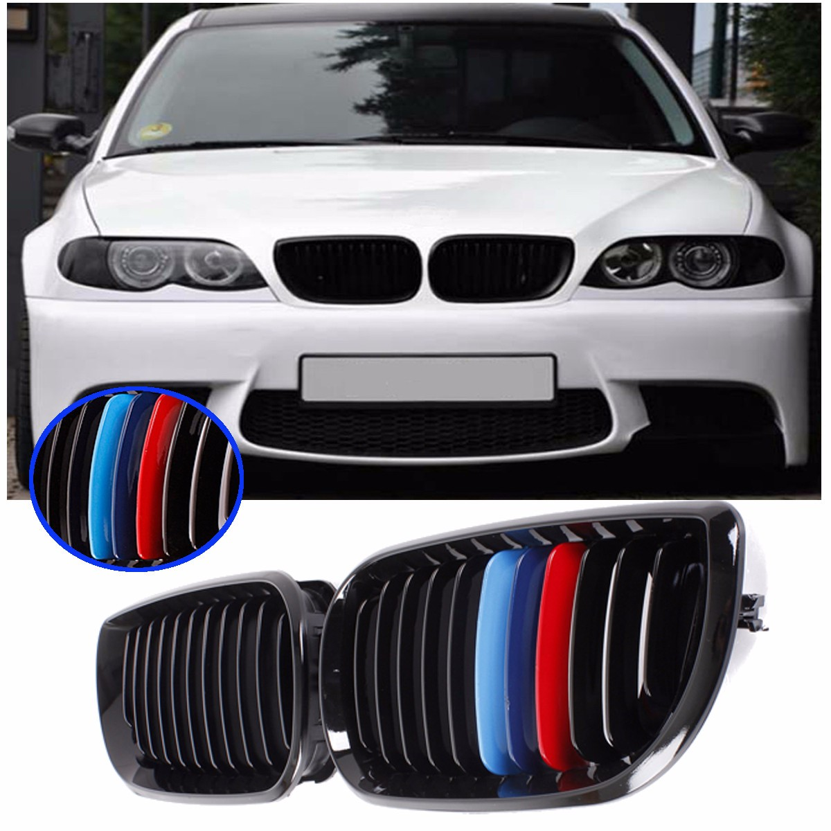 Pair Gloss Black Car Front M-color Kidney Grille Grill For BMW E46 Touring Saloon 4 Doors 3 Series 2002 2003 2004 2005 Facelift pair gloss matt black m color 2 line front kidney grille grill double slat for bmw e90 e91 3 series 2004 2005 2006 2007