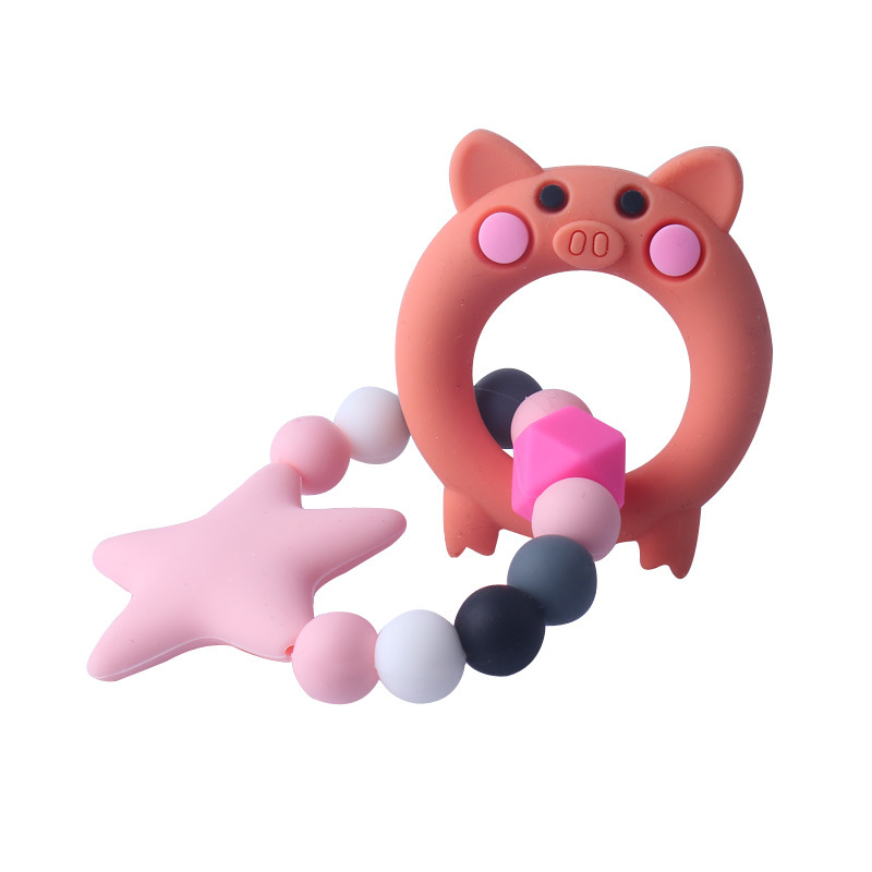 Купить с кэшбэком Food Grade Silicone Teethers DIY Animal Baby Ring Teether Infant Baby Silicone Chew Charms Kids Teething Toddler Toys Pacifier
