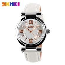 купить SKMEI Top Brand Women Fashion Luxury Dress Watches 30M Water Resistant Leather Strap Quartz Watch Ladies Wristwatches Hours 9075 по цене 673.55 рублей
