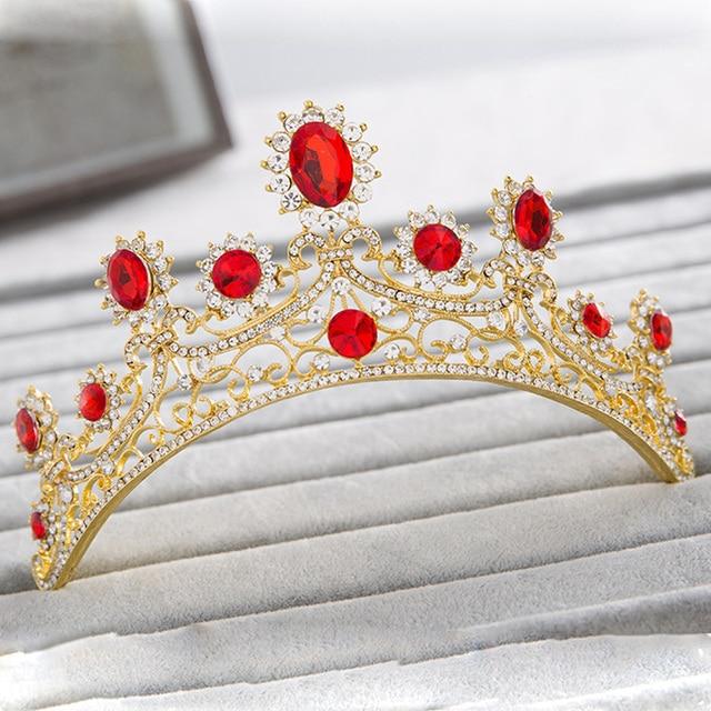 New European Designs Royal King Queen Crowns Zirconia Tiara Head