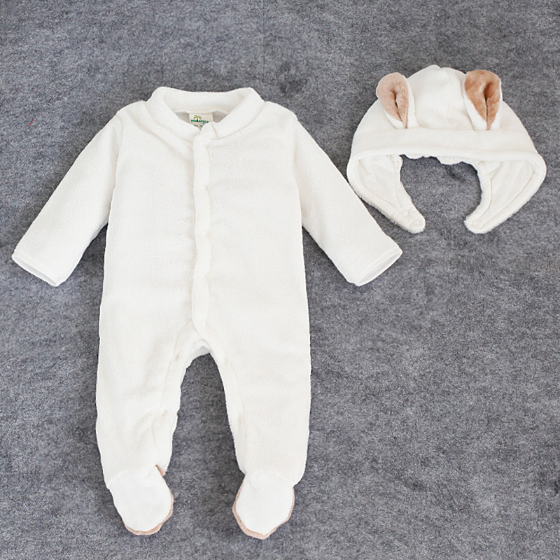 2PCS 0 2Years Autumn Winter Newborn Baby Rompers Infant Girls Boys Clothes Soft Flannel Warm font