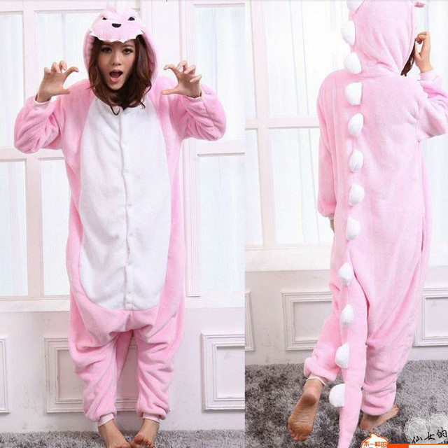 522b68a373a US $22.82 23% OFF|New Style Funny Pink Dinosaur Unisex Flannel Adult  Pajamas Onesie Cosplay Animals Nightwear Halloween Costumes For Women-in  Anime ...