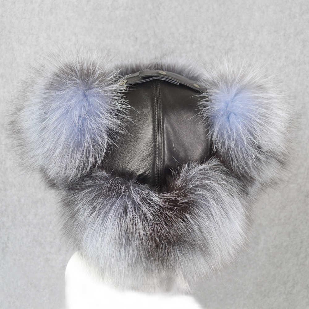 Antivento 100% Naturale Reale della Pelliccia di Fox Cappello Bomber Russia Caldo di Inverno Morbido Fluffy Reale Cappello di Pelliccia di Volpe Uomini Genuino di Alta Qualità cappelli di cuoio