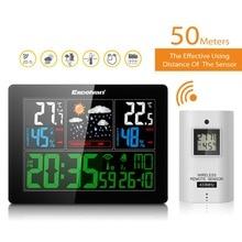 EXCELVAN профессиональная цветная Беспроводная метеостанция с датчиком температуры и влажности, радиоуправляемые часы