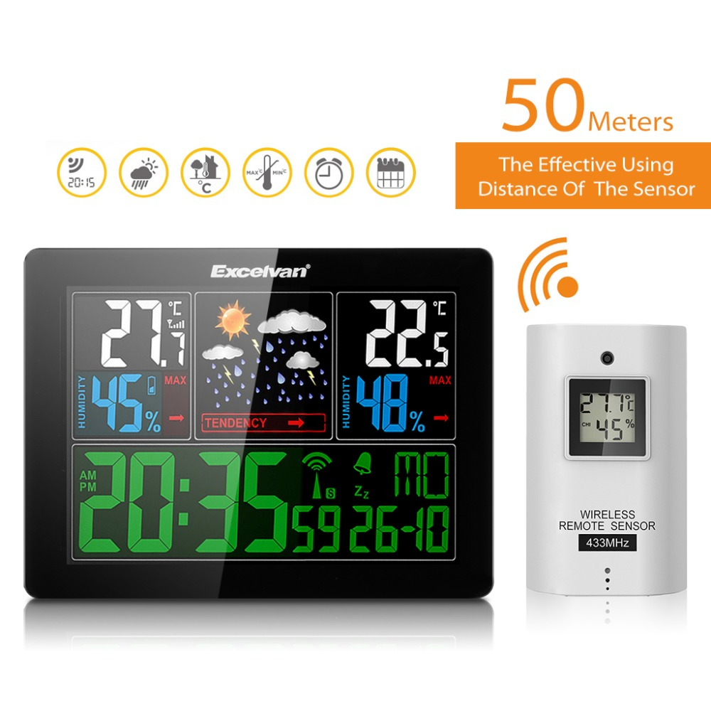 EXCELVAN Professional Color Wireless Weather Station with Forecast Temperature Humidity Remote Sensor Radio Controlled Clock