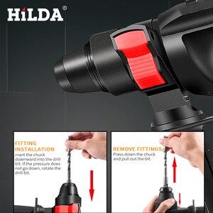 Image 3 - Hilda電動回転ハンマーコードレス電動インパクトドリルとリチウムバッテリー電源ドリルブラシレス電動ドリル電動ドリル