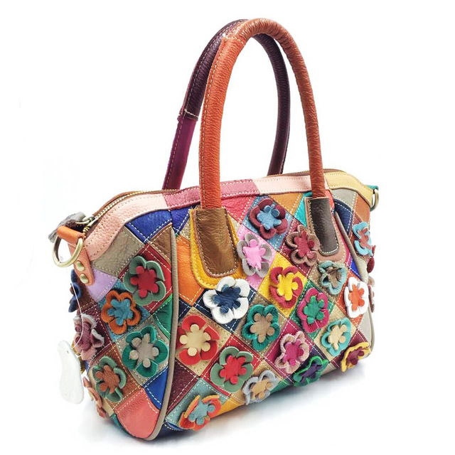 Dreamlizer Random Flower Design Genuine Leather Bags Handbags High Quality Female Pattern Totes Fashion Women Messenger Lady