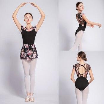 Taniec baletowy trykoty kobiety wysokiej jakości kwiaty netto gimnastyka strój do tańca dziewczyny balet ćwiczenia trykot taniec ubrania
