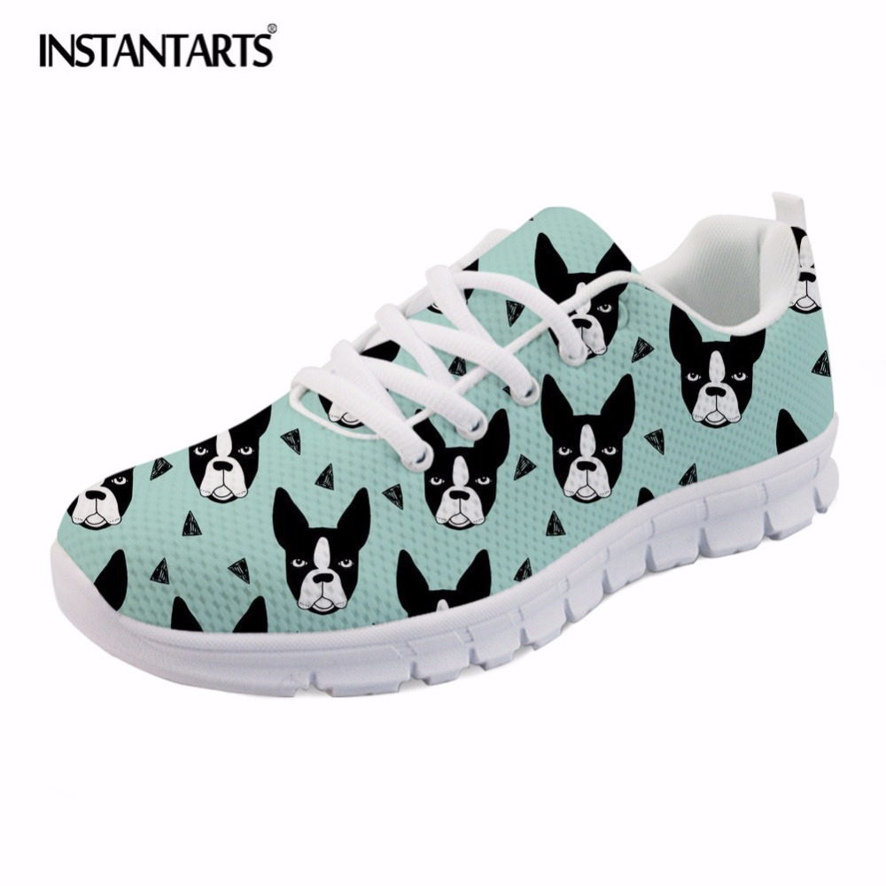 INSTANTARTS Casual Women Spring Flats Shoes Fashion Cute Animal Dog French Bulldog Print Women's Mesh Flats Shoes Sneaker Shoes instantarts cute glasses cat kitty print women flats shoes fashion comfortable mesh shoes casual spring sneakers for teens girls