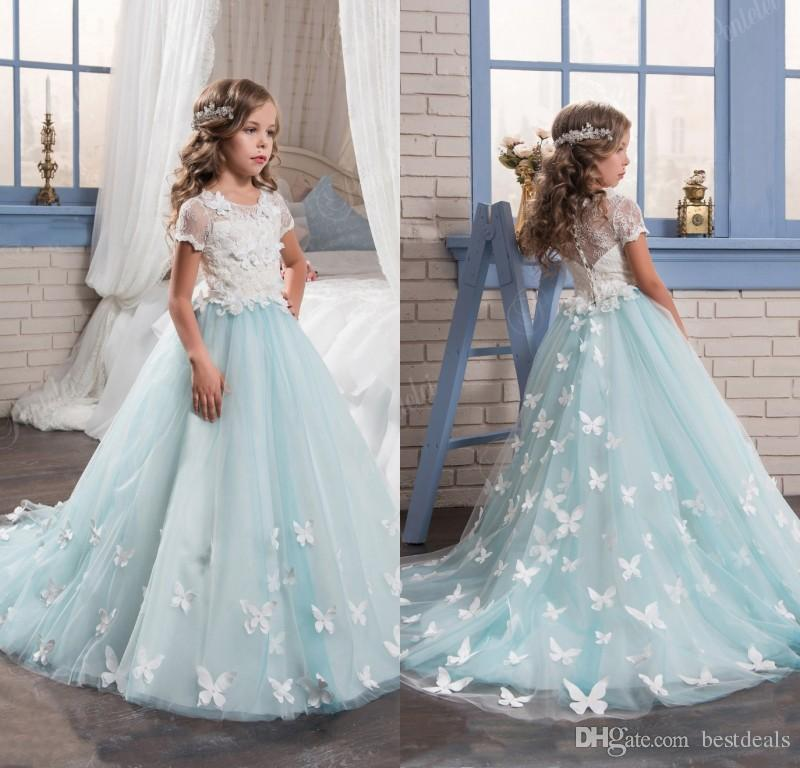 2017 light blue lace puffy tulle flower girls dresses for for Dresses for teenagers for weddings