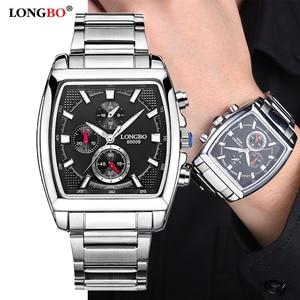 Image 1 - LONGBO mode hommes montre haut marque de luxe cadran carré mâle montre de sport hommes en acier inoxydable montre Relogio Masculino reloj hombre