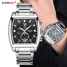 LONGBO אופנה גברים שעונים למעלה מותג יוקרה כיכר חיוג זכר ספורט שעון גברים נירוסטה שעון Relogio Masculino reloj hombre