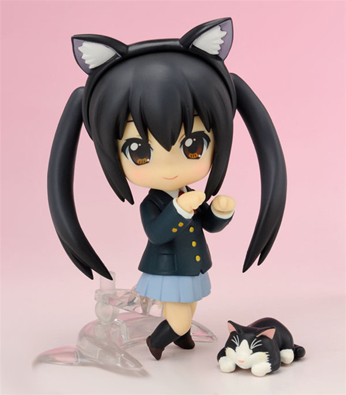 1Set 10CM Kawaii Nendoroid K-ON! Anime Azusa Nakano Creative PVC Action Figures Collection Cute Model Doll Toy Gift
