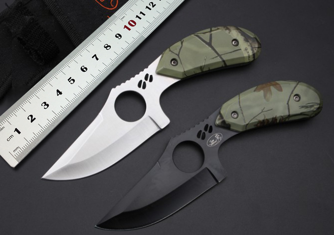 100 New Brand Camping Fixed Blade font b Knife b font 5Cr15Mov Blade Color Wood Handle