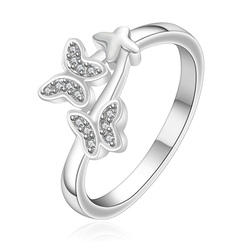 Wholesale Silver plated Ring Silver Fashion Jewelry ring Women&Men Gift Crystal Butterfly Star Silver Finger Rings mariposa en plata anillo