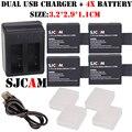 Nueva 4x batería + bateria sj7000 sj4000 sjcam sj5000 sj6000 sj8000 cargador usb dual para sj4000 sj5000 sjcam m10 sj sj9000 cámara