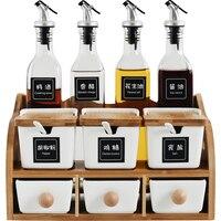 Versatile ceramic seasoning jar set,oil bottles,European double layer spice rack vinegar pot,oil seasoning box Kitchen shelf