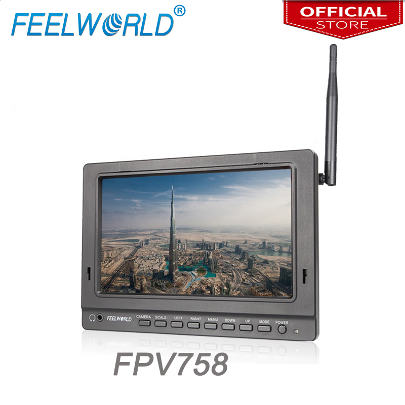 Feelworld Official 7 Inch 1024x600 HD Screen Wireless FPV Monitor for Go pro with Single 5.8G 32CH Receiver FPV758 feelworld fpv1032 10 1 wireless 5 8g 32ch drone rc rf receiver fpv monitor hdmi