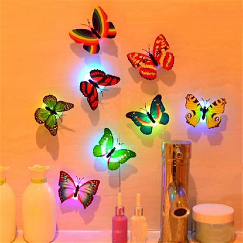 20 Pcs/lot Butterfly LED Holiday Night Light Table Lamp With Stick For Wall Christmas Wedding Decoration Party Multicolor Random