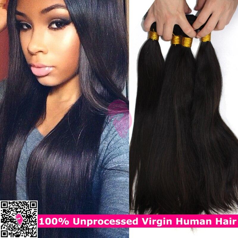 Unprocessed Mongolian Straight Virgin Hair 4pcs Lot Natural Black