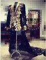 Бар мужчины певица DJ ночные клубы гостей концерты зеркала задней костюмы два частей костюмы, S-4xl
