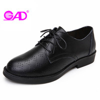 GAD Women Oxford Shoes 2017 Summer New Style Round Toe Lace Up Women Casual Shoes Fashion