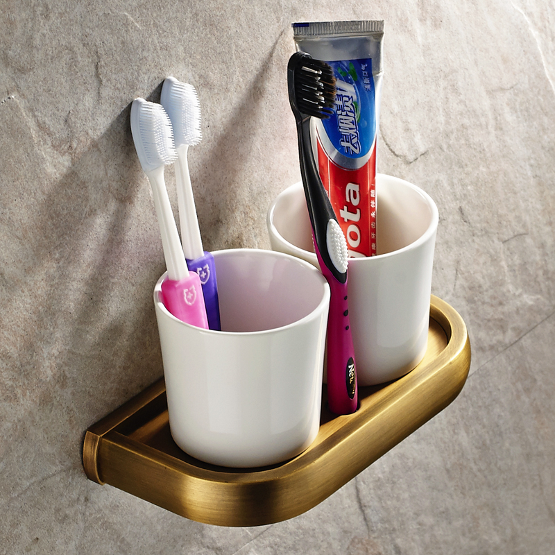 Luxury wall mounted brass antique brushed solid toothbrush - Wall mounted ceramic bathroom accessories ...