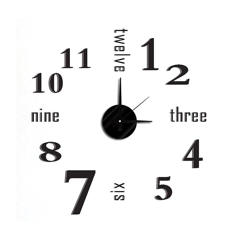 Doprava zdarma DIY Moderní módní kreativní nástěnné hodiny vložit EVA vložit černé arabské číslice a anglické číslice dekorace hodiny