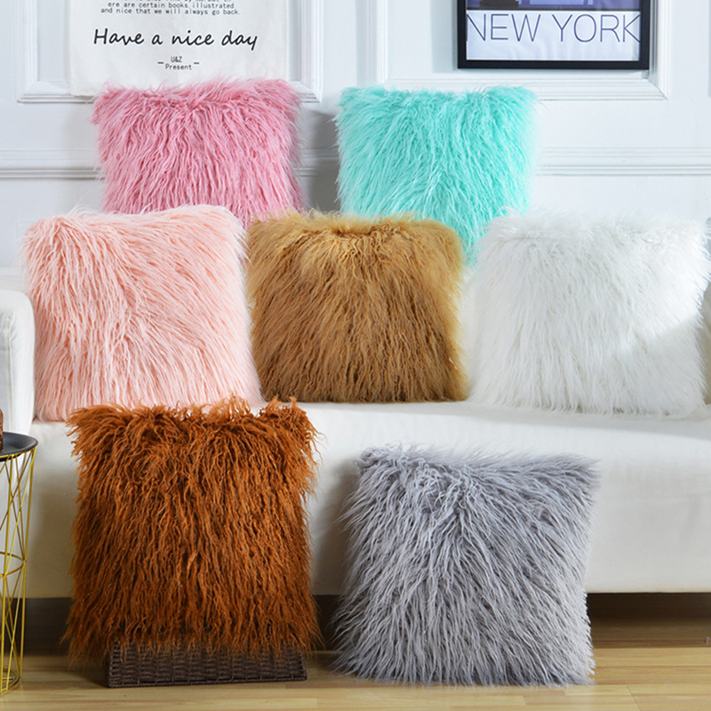 Fashion Plush Furry Pillow Pink Cushion Cover Super Soft Decorative Pillowcase Home Bed Sofa Decoration Supplies Home Textile