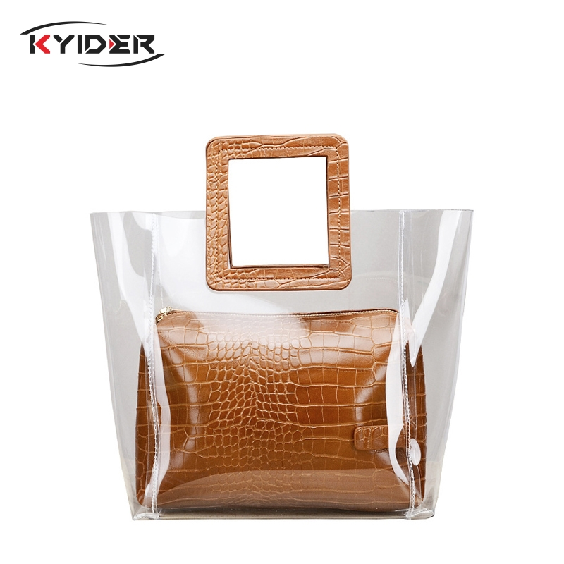 KYIDER Women Composite Bags Transparent Handbags Womens Fashion Beach Summer Shoulder Casual