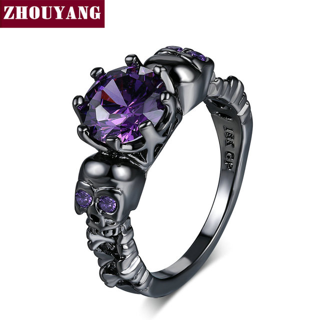 ZHOUYANG Skull Ring For Women Punk Style Cubic Zircaonia Skeleton Black Gold Color Cocktail Party Fashion Jewelry R523