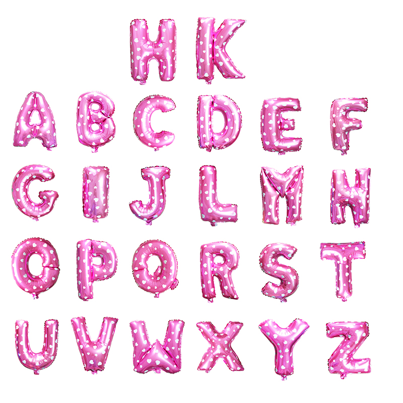 good quality 1piece 16inch pink alphabet a z foil letters balloon for birthday party