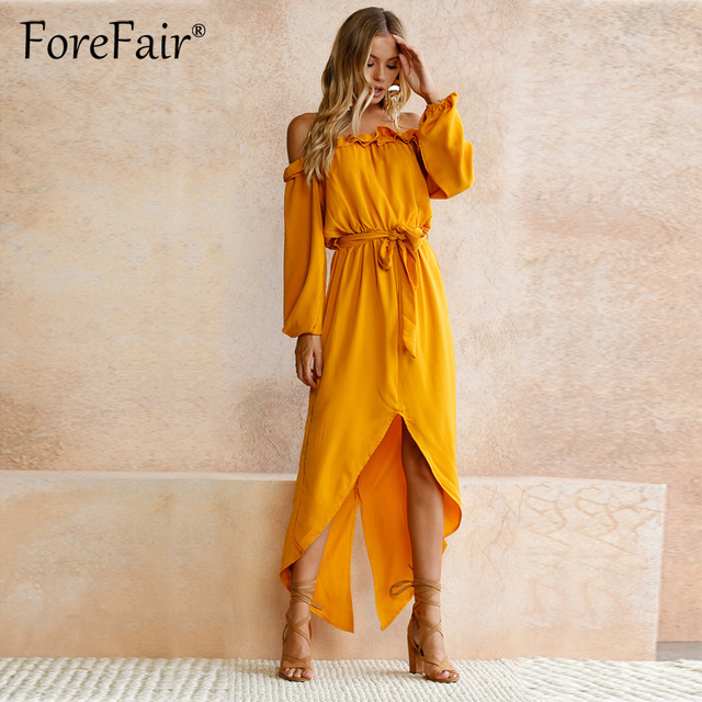 139e61c64219 Forefair Casual Yellow Off Shoulder Long Maxi Dress 2018 Autumn Women Long  Sleeve Slash Neck High Low Tie Waist Party Dresses