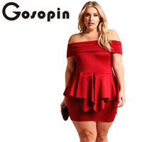 Gosopin Plus Size Ruffles Mini Dresses Off Shoulder Women Summer Party XXXL Peplum Sexy Club Dress