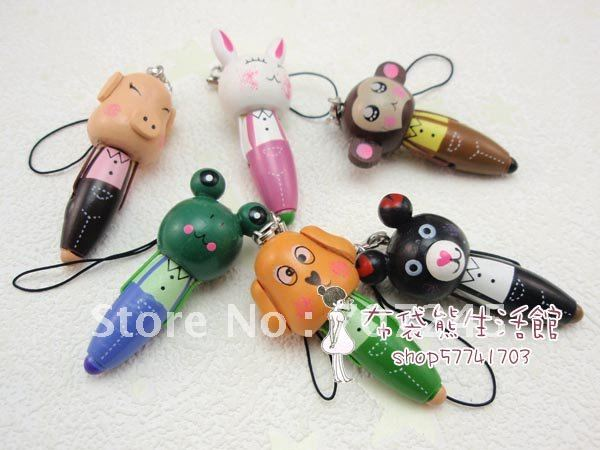 Free ship!!40 pc as a lot!!wooden cartoon pen with Mobile phone chain/prize pen/creative stationery