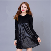 Women Autumn And Winter Black Lace Knee Length Dress Leather Female Fashion Cotton Plus Size S