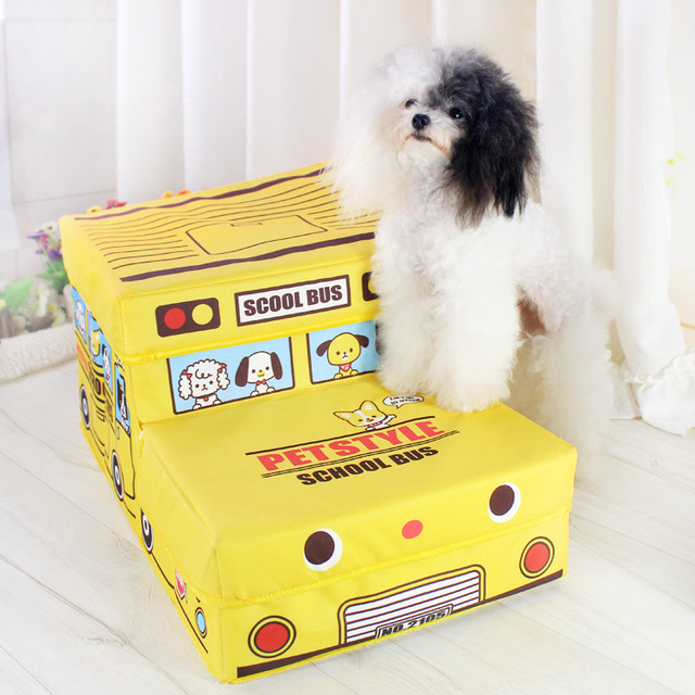 Pet Furniture Cute car school bus pet dog cat Stairs for small dog pet steps 2-steps car dog foldable storage box pet product
