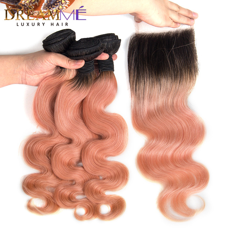 1B Pink Ombre Color Body Wave with Lace Closure Remy Human Hair Weave Human Hair Weave