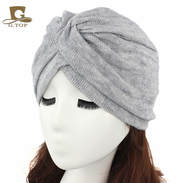 Fashion Women Wool Blending Jersey Turban Full Head Covering Winter Headwrap  Lady Hijab Turban Headband Turbante for Women c6bc567182d