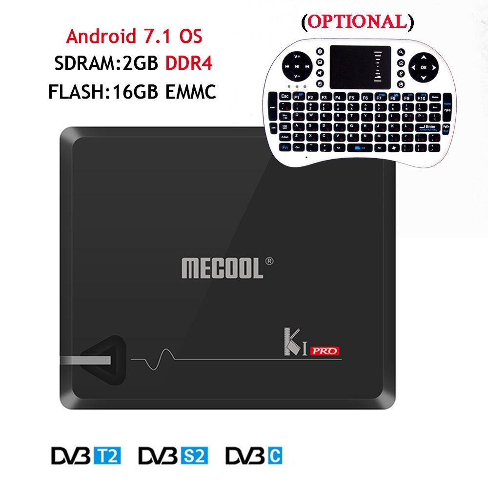 DVB T2+S2 KI Pro Android 7.1 TV Box Amlogic S905D Quad-core Bluetooth 2GB/16GB Dual Wifi UHD 4K Smart Media Player+I8 Keyboard m8 fully loaded xbmc amlogic s802 android tv box quad core 2g 8g mali450 4k 2 4g 5g dual wifi pre installed apk add ons