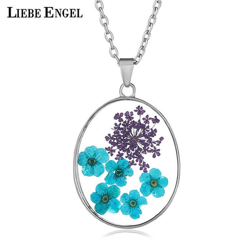LIEBE ENGEL Dried Flowers Resin Pendant Vintage Sweater Long Necklace Jewelry Drop Shipping