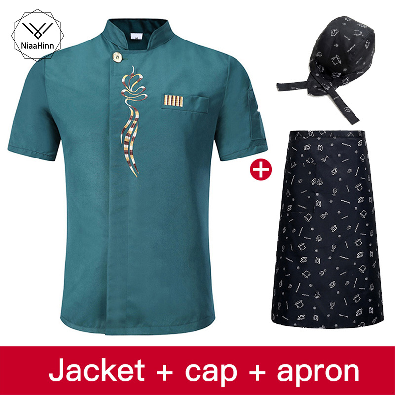 Short Sleeves Kitchen Chef Uniform Restaurant Catering Jacket Hotel Cook Chef Apron Workwear Wholesale New Chef Hat Beauty Apron
