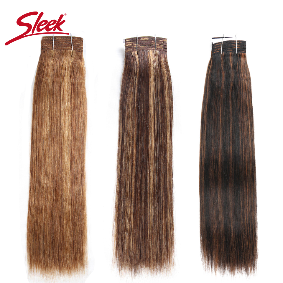 Sleek Remy Hair Brazilian Yaki Straight Human Hair Bundles 1 PC Piano P4/30# P1B/27# P6/27#  Hair Weave Bundles Extensions 113g
